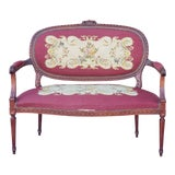 Image of 1950s French Louis XV Style Needlepoint Living Room Settee For Sale