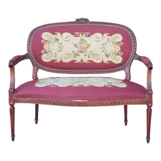 1950s French Louis XV Style Needlepoint Living Room Settee For Sale