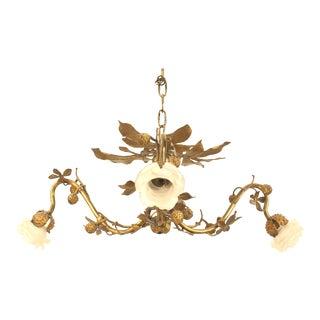 Art Nouveau Rustic Style Gilt Metal Chandelier For Sale