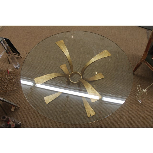 Gold Base & Glass Top Coffee Table For Sale - Image 7 of 7