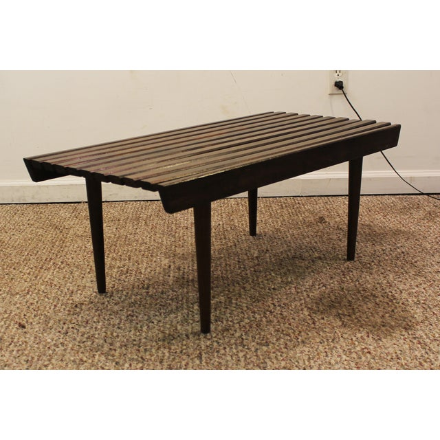 Mid Century Danish Modern Walnut Slat Bench/Coffee Table - Image 2 of 11