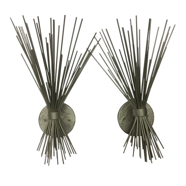 Pair of Silver Spike Bundle Sconces For Sale