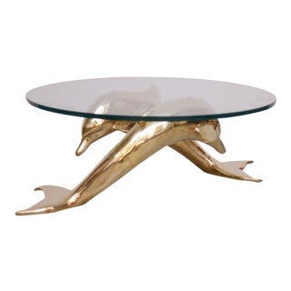 Brass Coffee Table in Form of Two Dolphins For Sale