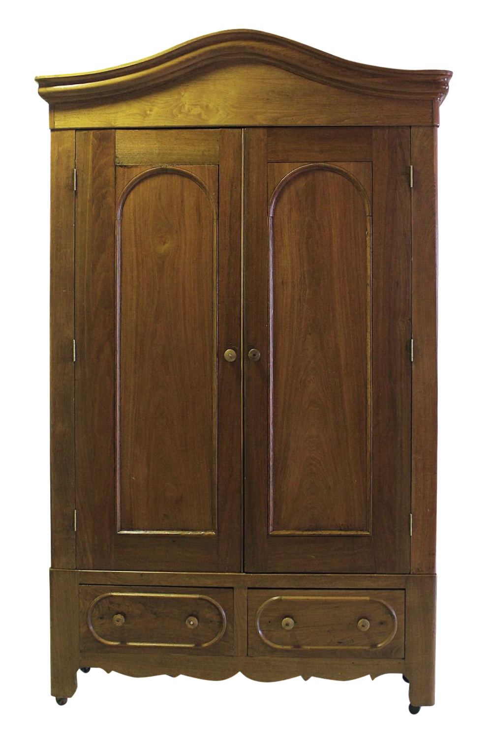 Superbe Antique Walnut Bonnet Top Armoire Wardrobe