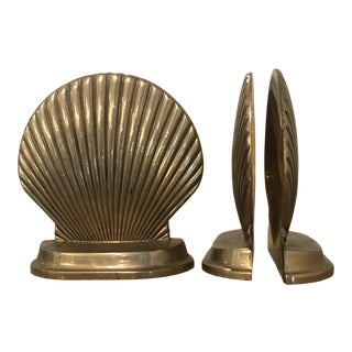 Vintage Brass Seashell Bookends - Set of 4 For Sale