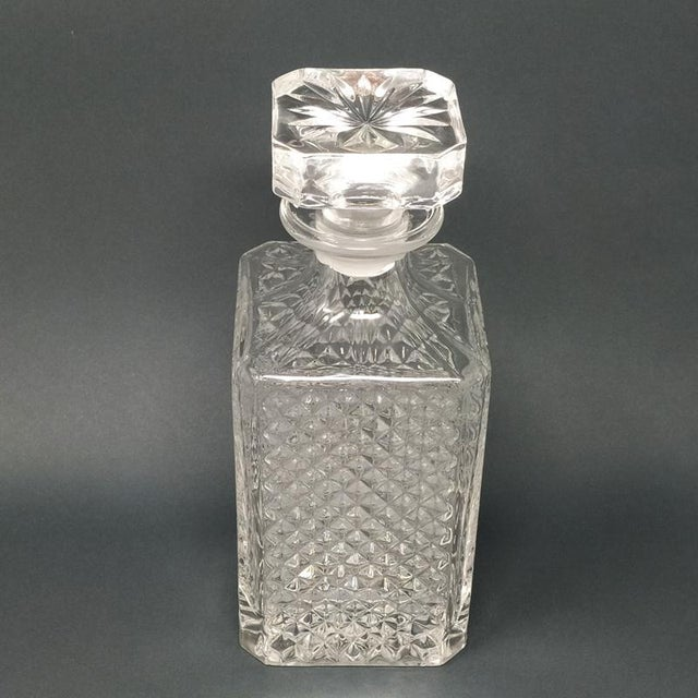 Glass 1950 Italian Mid Century Vintage Crystal Decanter with 4 Glasses For Sale - Image 7 of 9
