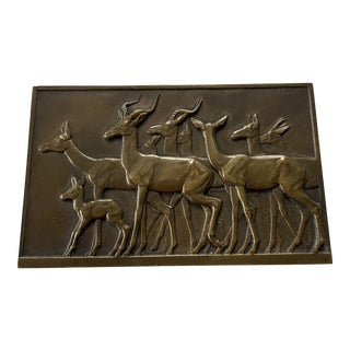 1930s French Art Deco Bronze Plaque of Gazelle by R. Thenot For Sale