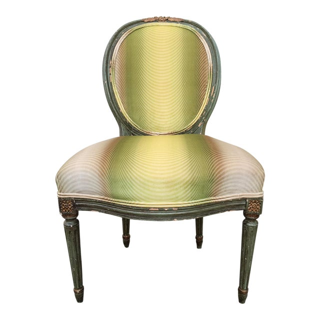 Vervain 19th Century French Fauteuil Chair with Green Ombre Velvet - Image 1 of 9