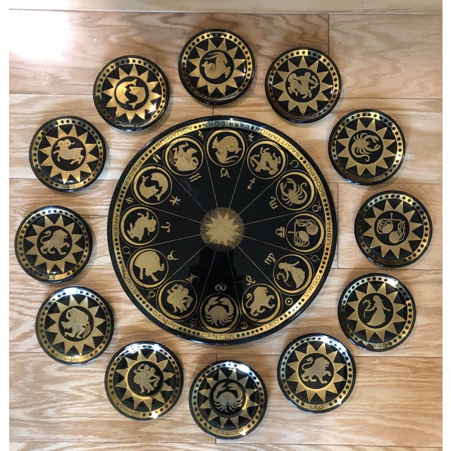 Glass Vintage Mid Century Modern Astrological Glass Tray & Plates For Sale - Image 7 of 7
