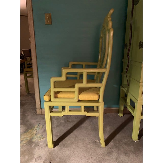 Fabric 1960s Vintage Yellow Wooden Hand Painted Asian Decorative Chairs- A Pair For Sale - Image 7 of 13