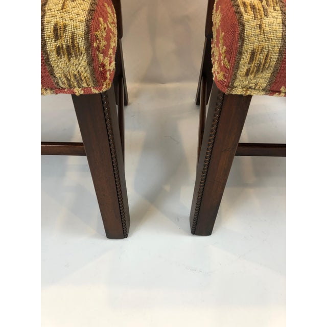 1990s Carved Mahogany and Chenille Upholstered Armchairs - a Pair For Sale - Image 5 of 13