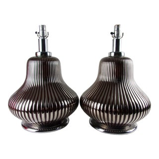 1970s Mid Century Lamp Ceramic Silver Gourd - a Pair For Sale