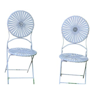 1930s Art Deco Francios Carre Sunburst Pattern Metal Chairs - Set of 2