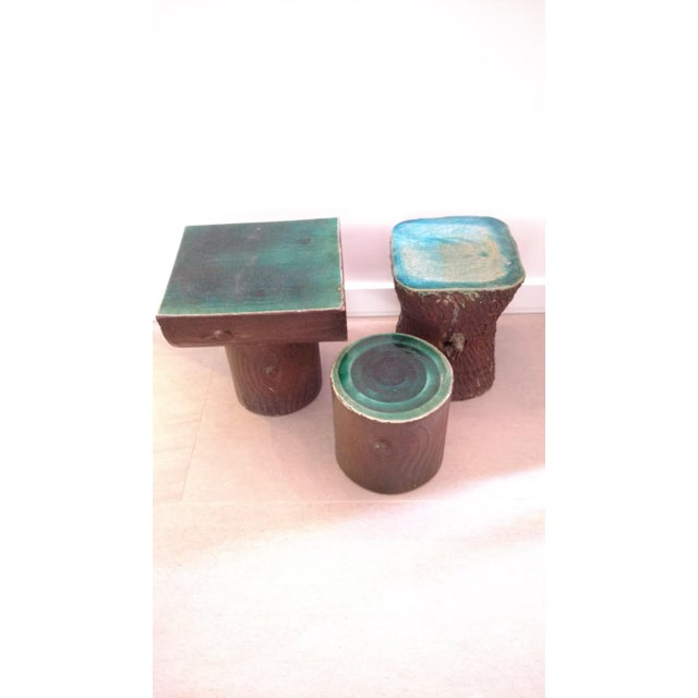 1960s Vintage Art Nouveau Ceramic Tree Trunk End Tables- Set of 3 For Sale In Chicago - Image 6 of 12