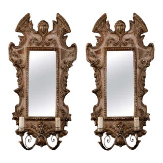 19th Century Italian Sconces With Carved Mirror and Gilt Gesso Frames - A Pair For Sale