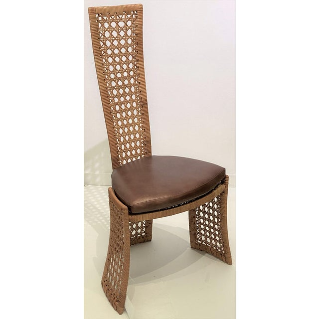 Modern Mid-Century Modern Danny Ho Fong Dining Chairs Rattan Caning - Set of 6 For Sale - Image 3 of 13