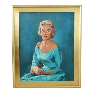 Portrait Oil Painting Elegant Lady in Teal W/ Blue Eyes by Walton C. Titus in Gilt Frame For Sale