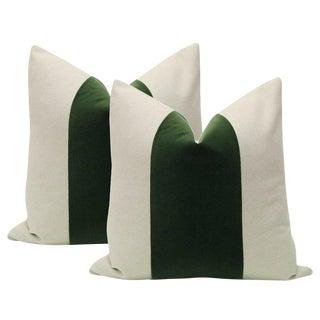 """22"""" Fern Velvet Panel & Linen Pillows - a Pair For Sale"""