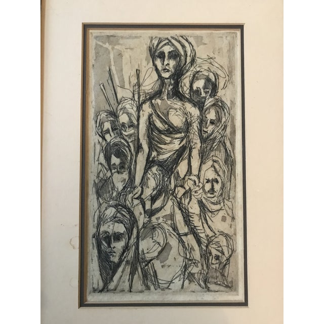 Mid 20th Century Mid Century Etching of People For Sale - Image 5 of 8