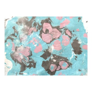 """""""Pink Floral"""" 2018 Japanese Marble on Rice Paper Print For Sale"""