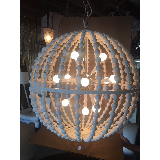 White Circular Modern Chandelier For Sale - Image 4 of 6