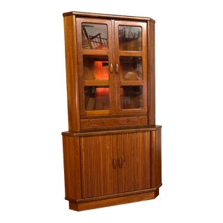 Dyrlund Teak Danish Vintage Corner Cabinet For Sale