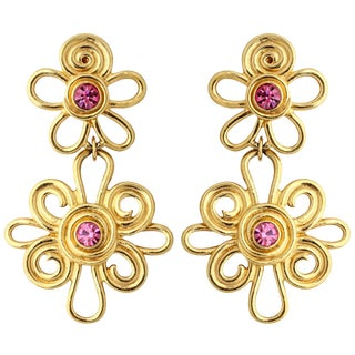 Double Daisy Gold Tone Earrings For Sale