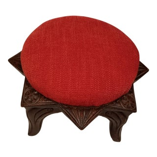 1970s Vintage Victorian Style Walnut Star Shaped Footstool For Sale
