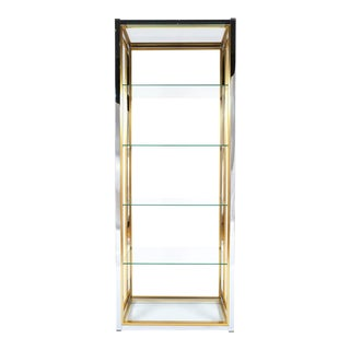 Set of Three Renato Zevi Etagères Shelving Chrome and Brass