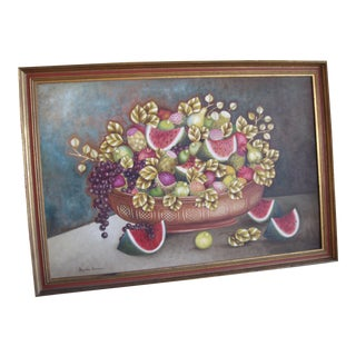 1950s Watermelon and Fruit Oil Painting For Sale