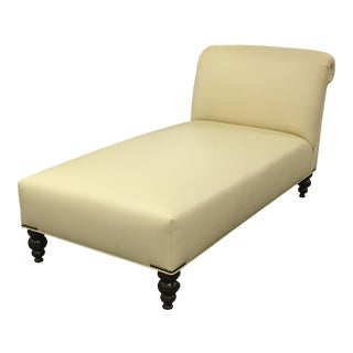 George Smith Style Ivory Leather Chaise For Sale