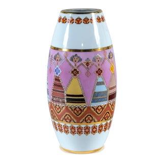 Vintage Pink Female Form Pattern Mid Century Porcelain Vase For Sale