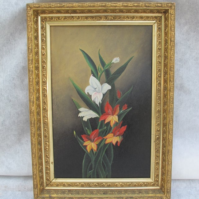 Framed Lilies Oil Painting - Image 9 of 9
