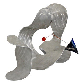 1990s Vintage Contemporary Signed Metal Abstract Wall Sculpture by John Krawczyk For Sale