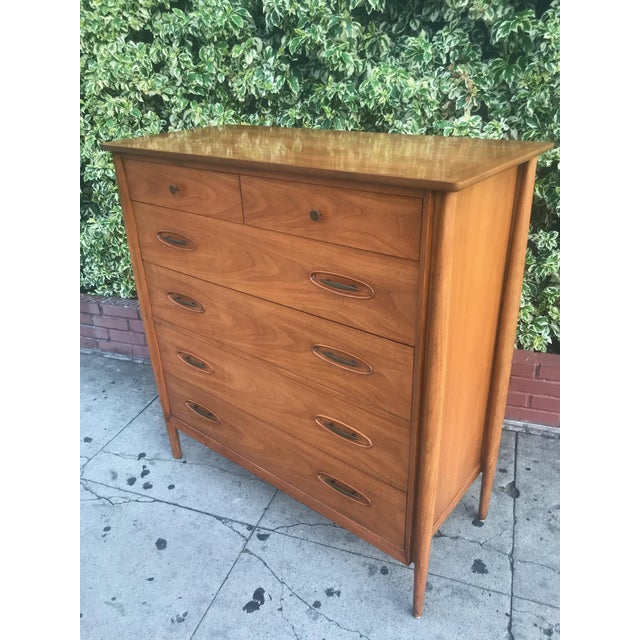 Brass Mid-Century Tall Boy Dresser by Morganton For Sale - Image 7 of 13