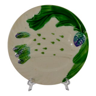 Salins French Faïence Majolica Asparagus & Artichoke Plate For Sale