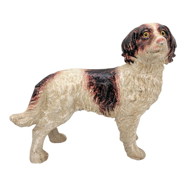 20th Century Figurative Cast Iron Red and White English Springer Spaniel Doorstop For Sale