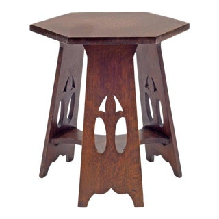 Stickley Brothers Quaint Furniture Co. Hexagonal Oak Taboret Table, Usa, 1900s For Sale