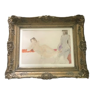 Mid-Century Modern Original Nude Watercolor Painting