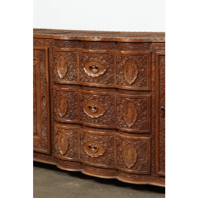 Brown Asian Finely Hand-Carved Sideboard From Java, Indonesia For Sale - Image 8 of 10