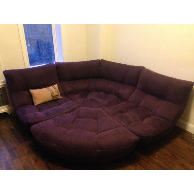 Purple 4-Piece Curved Sectional Sofa For Sale - Image 8 of 9
