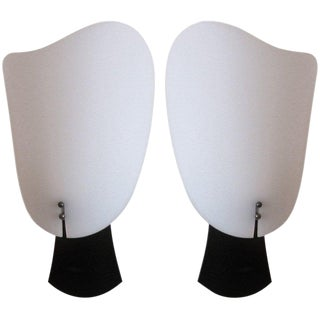 1950s Black and White Plastic Mid Century Modern Wall Sconces - a Pair For Sale