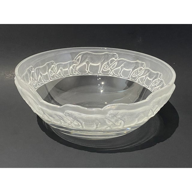 Art Deco Revival Nachtmann Safari Leopard Bowl Frosted and Clear Lead Crystal For Sale - Image 4 of 13