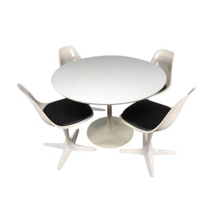 1960s Mid-Century Modern Burke Tulip Table and Propeller Chair Dining Set - 5 Pieces For Sale
