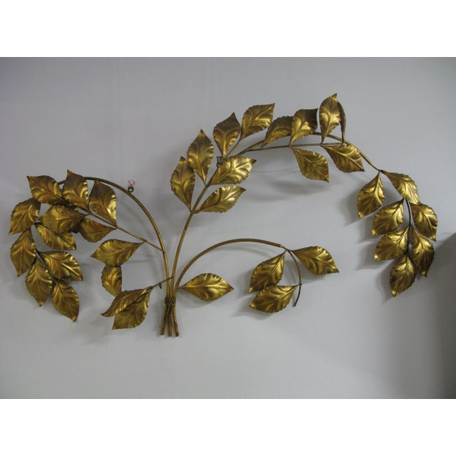 Vintage Mid Century Hollywood Regency Italian Gilded Leaves Wall Sculpture For Sale - Image 9 of 11