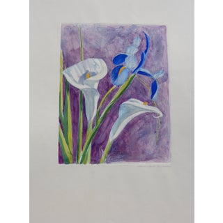 Contemporary Print, Iris and Calla Lillies For Sale