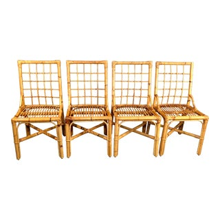 1960s Italian Boho Chic Bamboo Dining Chairs - Set of 4 For Sale