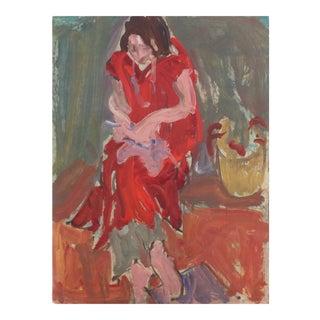 'Woman Crocheting' by Victor Di Gesu; 1955, Paris, Louvre, Académie Chaumière, California Post-Impressionist, Lacma For Sale