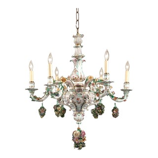 Meissen Porcelain 6-light Chandelier For Sale