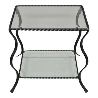 20th Century 2 Tier Wrought Iron Glass Top Scrolling Black Lamp Table For Sale